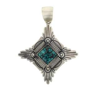 Marita Benally Spiderweb Turquoise Pendant