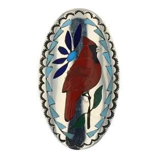 Quentin Quam Sr. Zuni Turquoise & Coral Inlay Cardinal