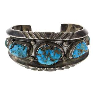 Old Pawn Vintage Kingman Nugget Turquoise Navajo Cuff