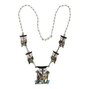 Vintage Zuni Turquoise Coral & Mother of Pearl Owl