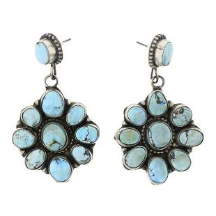 Lydia Begay Golden Hill Turquoise Cluster Earrings
