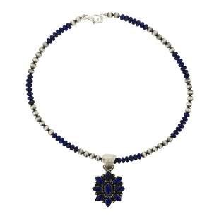 Eleanor Largo Lapis Cluster Necklace