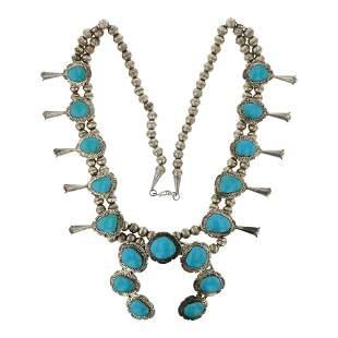 Vintage Turquoise Large Squash Blossom Necklace