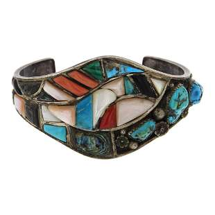 Vintage Pawn Mixed Stone Inlay Cuff Bracelet