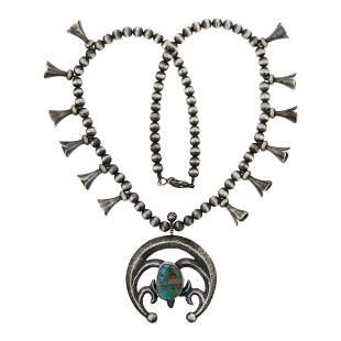 Royston Turquoise Sandcast Naja Squash Blossom Necklace
