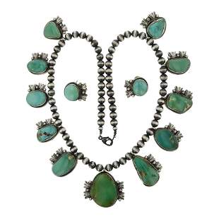 Bobby Johnson Royston Turquoise Necklace & Earrings Set
