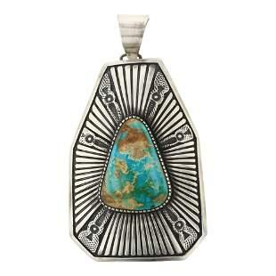 Ernest Bilagody Sr. Royston Turquoise Shield Pendant