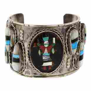 Old Pawn Vintage Zuni Dancer Cuff Bracelet