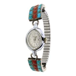 Vintage Turquoise & Coral Inlay Watch Link Bracelet