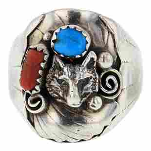 Turquoise & Coral Men's Ring