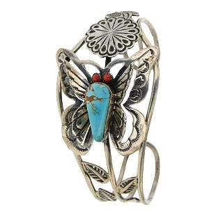 Turquoise & Coral Contemporary Butterfly Bracelet
