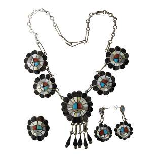 Vintage Zuni inlay Sun face Necklace Earrings & Ring