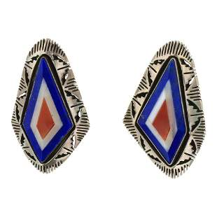 Navajo Secatero Inlay Lapis Mother of Peral & Coral