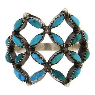 Old Pawn Turquoise Needlepoint Ring