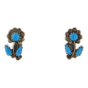 Vintage Turquoise Flower Earrings