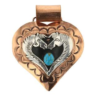 Sterling Silver Over Copper Turquoise Horse Pendant