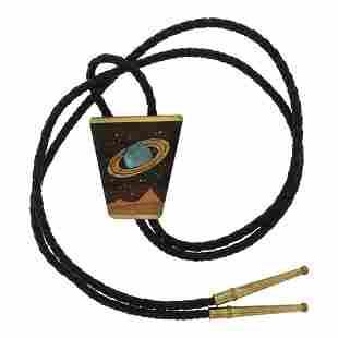 Vintage Sky wood Brass Galaxy Bolo Tie