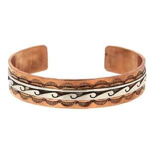 Skeets Sterling Silver Over Copper Navajo Cuff Bracelet
