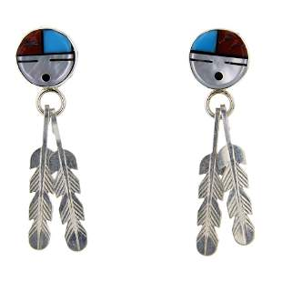 Zuni Mother of Pearl Turquoise & Coral inlay Earrings
