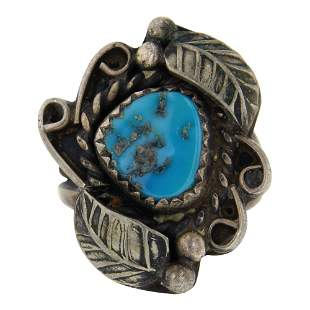 Old Pawn Sleeping Beauty Nugget Turquoise Navajo Ring