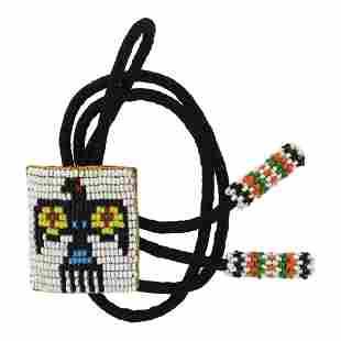 Native Thunderbird Design Beadwork Bolo Tie