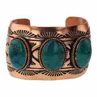 Three Stone Turquoise Copper Cuff Bracelet