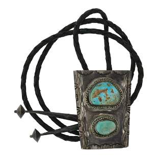 Old Pawn Nevada Turquoise Bolo Tie