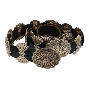 Navajo Plain Silver Stamped Concho Belt