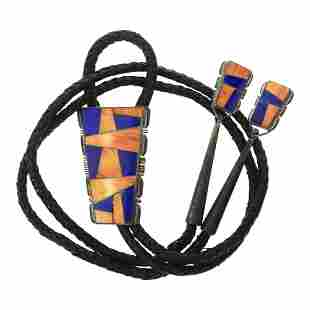 A Yazzie Lapis & Spiny Oyster Inlay Bolo Tie
