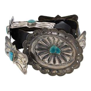 Old Pawn Turquoise Butterfly Concho Belt