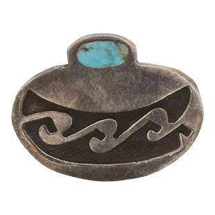 Vintage Turquoise Navajo Pottery Pin