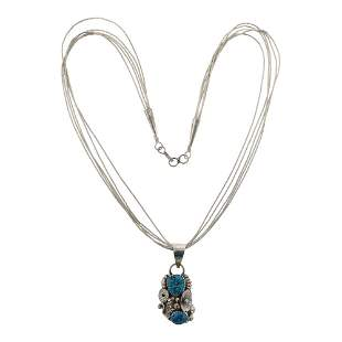 Five Strand Silver Heishi Necklace & Turquoise Pendant
