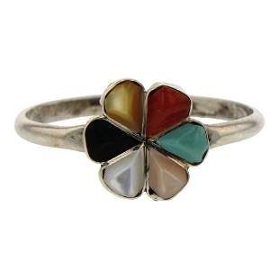 Vintage Zuni Turquoise Coral & Shell Flower Ring