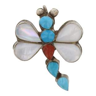 Zuni Inlay Turquoise Coral & Mother of Pearl Dragonfly