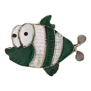 Zuni Inlay Malachite & Mother of Pearl Fish Pin