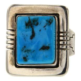 Navajo Square Shaped Sleeping Beauty Nugget Turquoise