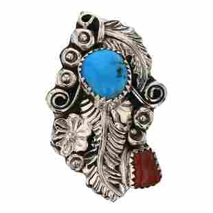 Harry Yazzie Navajo Turquoise & Coral Ring