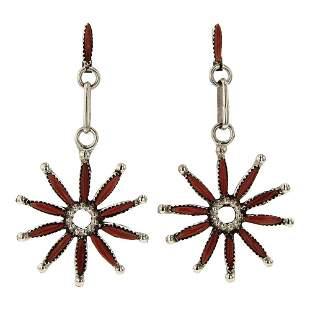 Zuni Needlepoint Coral Earrings
