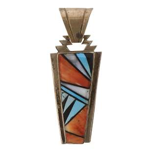 Navajo Inlay Turquoise Shell & Spiny Oyster Pendant