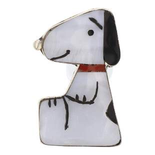 Zuni Mother of Pearl Inlay Snoopy Pin