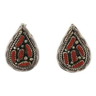 Navajo Pear Shaped Branch Coral Earrings