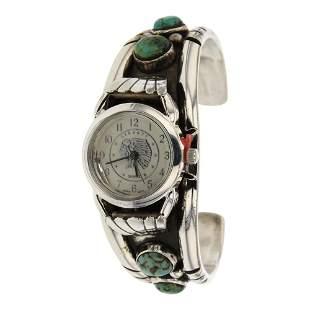 Vintage Turquoise Watch Cuff Bracelet