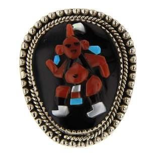 Vintage Zuni Coral & Jet Black Inlay Mudhead Ring
