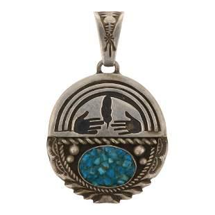 Vintage Pawn Turquoise Overlay Pendant