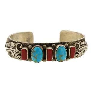 Kingman Turquoise & Branch Coral Cuff Bracelet