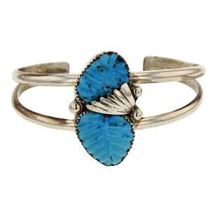 Navajo Carved Turquoise Leaf Bracelet