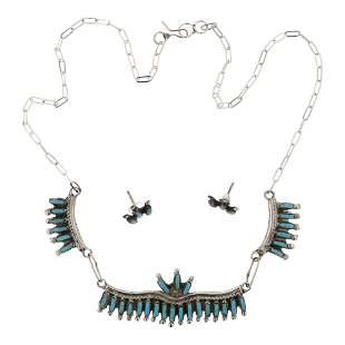 Zuni Turquoise Needlepoint Necklace & Earrings Set