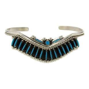Zuni Turquoise Needlepoint Cuff Bracelet