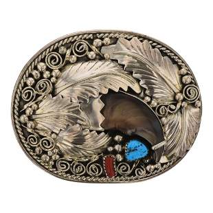 Gary Edwards Turquoise & Coral Bear Claw Belt Buckle