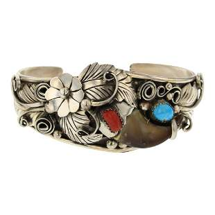 Turquoise & Coral Bear Claw Cuff Bracelet